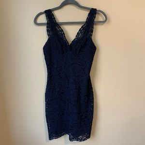 Topshop Navy Blue Sleeveless Lace Dress